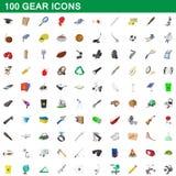 100 ícones ajustados, estilo da engrenagem dos desenhos animados ilustração royalty free
