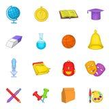 Ícones ajustados, estilo da escola dos desenhos animados Imagens de Stock