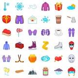 Ícones ajustados, estilo da estação do inverno dos desenhos animados Imagem de Stock Royalty Free
