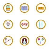 Ícones ajustados, estilo da estrada do trem dos desenhos animados Imagem de Stock