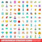 100 ícones ajustados, estilo da estratégia empresarial dos desenhos animados Fotografia de Stock