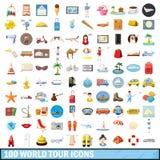 100 ícones ajustados, estilo da excursão do mundo dos desenhos animados Fotos de Stock