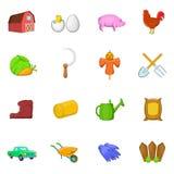 Ícones ajustados, estilo da exploração agrícola dos desenhos animados Imagem de Stock