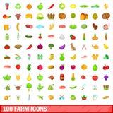 100 ícones ajustados, estilo da exploração agrícola dos desenhos animados Imagem de Stock Royalty Free