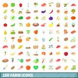 100 ícones ajustados, estilo da exploração agrícola dos desenhos animados Fotografia de Stock Royalty Free