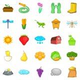 Ícones ajustados, estilo da exploração agrícola dos desenhos animados Imagens de Stock Royalty Free