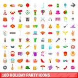 100 ícones ajustados, estilo da festa natalícia dos desenhos animados Fotos de Stock