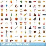 100 ícones ajustados, estilo da festa natalícia dos desenhos animados Fotos de Stock Royalty Free