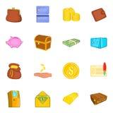 Ícones ajustados, estilo da finança dos desenhos animados Fotografia de Stock