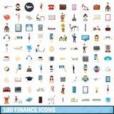 100 ícones ajustados, estilo da finança dos desenhos animados Foto de Stock