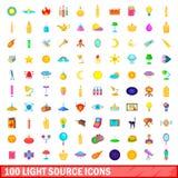 100 ícones ajustados, estilo da fonte luminosa dos desenhos animados ilustração stock