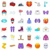 Ícones ajustados, estilo da geada do inverno dos desenhos animados Imagem de Stock Royalty Free