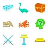Ícones ajustados, estilo da gestão do museu dos desenhos animados Fotografia de Stock