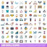 100 ícones ajustados, estilo da habilidade dos desenhos animados Fotos de Stock Royalty Free