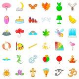 Ícones ajustados, estilo da harmonia dos desenhos animados Imagem de Stock