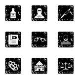 Ícones ajustados, estilo da ilegalidade do grunge Fotografia de Stock
