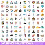 100 ícones ajustados, estilo da indústria de serviços dos desenhos animados ilustração do vetor