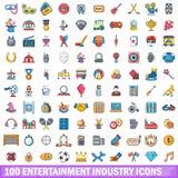 100 ícones ajustados, estilo da indústria do entertaiment dos desenhos animados ilustração do vetor
