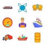 Ícones ajustados, estilo da indústria petroleira dos desenhos animados Fotografia de Stock