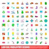 100 ícones ajustados, estilo da indústria petroleira dos desenhos animados Imagens de Stock