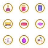 Ícones ajustados, estilo da indústria petroleira dos desenhos animados Imagem de Stock Royalty Free