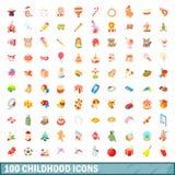 100 ícones ajustados, estilo da infância dos desenhos animados Foto de Stock