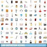 100 ícones ajustados, estilo da iniciação dos desenhos animados Imagem de Stock Royalty Free