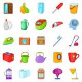 Ícones ajustados, estilo da limpeza da cozinha dos desenhos animados Imagens de Stock Royalty Free