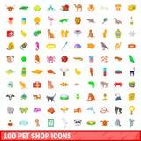 100 ícones ajustados, estilo da loja de animais de estimação dos desenhos animados Imagem de Stock Royalty Free