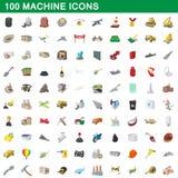 100 ícones ajustados, estilo da máquina dos desenhos animados Fotografia de Stock Royalty Free