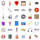Ícones ajustados, estilo da música da harmonia dos desenhos animados Imagem de Stock Royalty Free