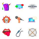 Ícones ajustados, estilo da música rock dos desenhos animados Fotografia de Stock