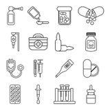 Ícones ajustados, estilo da medicina da droga do esboço ilustração stock