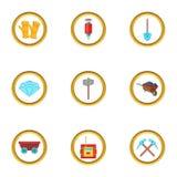 Ícones ajustados, estilo da mineração do diamante dos desenhos animados Imagens de Stock Royalty Free