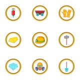Ícones ajustados, estilo da mineração do ouro dos desenhos animados Imagens de Stock