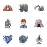 Ícones ajustados, estilo da mineração dos desenhos animados Fotografia de Stock Royalty Free