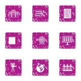 Ícones ajustados, estilo da moeda do grunge ilustração stock