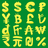 Ícones ajustados, estilo da moeda dos desenhos animados Fotos de Stock Royalty Free