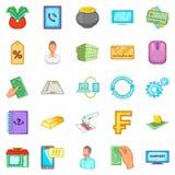 Ícones ajustados, estilo da moeda dos desenhos animados Imagem de Stock Royalty Free
