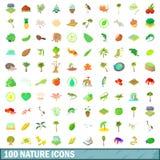 100 ícones ajustados, estilo da natureza dos desenhos animados Imagens de Stock Royalty Free