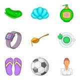 Ícones ajustados, estilo da negligência dos desenhos animados Imagens de Stock