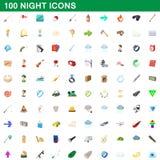 100 ícones ajustados, estilo da noite dos desenhos animados ilustração stock