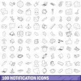 100 ícones ajustados, estilo da notificação do esboço Fotografia de Stock