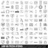 100 ícones ajustados, estilo da olá!-tecnologia do esboço Imagem de Stock