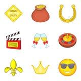 Ícones ajustados, estilo da permissão dos desenhos animados Imagens de Stock Royalty Free