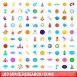 100 ícones ajustados, estilo da pesquisa do espaço dos desenhos animados Foto de Stock