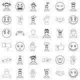 Ícones ajustados, estilo da pessoa do esboço Fotos de Stock Royalty Free