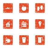 Ícones ajustados, estilo da poluição ambiental do grunge ilustração do vetor