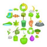 Ícones ajustados, estilo da poluição ambiental dos desenhos animados ilustração royalty free