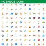 100 ícones ajustados, estilo da ponte dos desenhos animados ilustração royalty free